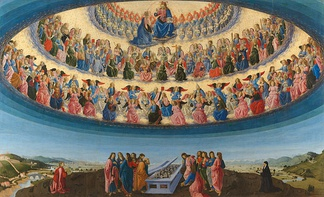 The Assumption of the Virgin, 1475-76, by Francesco Botticini (National Gallery London), shows three hierarchies and nine orders of angels, each with different characteristics.