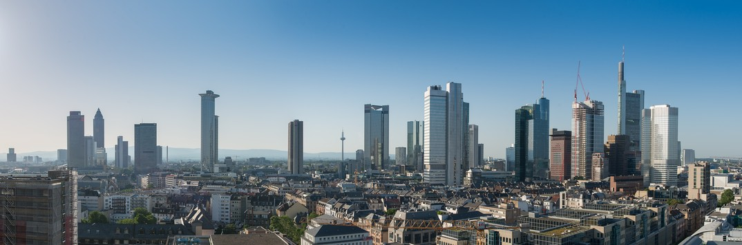 Frankfurt skyline in June 2013, view from south-west