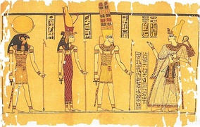The Harris Papyrus painting, depicting Ramesses III before the Theban Triad: Amun, Mut and Khonsu. Image taken from page 91 of this book.