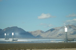 The 377 MW Ivanpah Solar Electric Generating System with all three towers under load, February 2014. Taken from I-15.