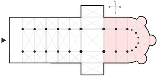 Plan with the broader definition of the chancel highlighted