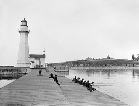 Recreational fishing at Oswego, c. 1900.