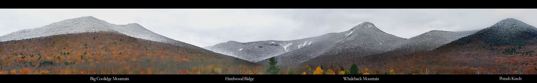 Peaks of the Franconia Range of the White Mountains as viewed from Loon Mountain resort after an October snowfall, looking to the north.