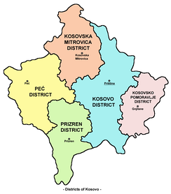 Districts in Kosovo and Metohija.