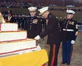 Marine Corps Birthday 1969, Marine Corps Development and Educational Center Quantico, Commanding general Lewis J. Fields cutting the cake and Commandant of the Marine Corps, Wallace M. Greene (on the left) looks on.