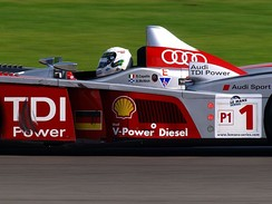 Allan McNish driving the Audi R10 during the 2008 Le Mans Series race