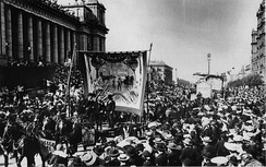 Eight-hour day march circa 1900, outside Parliament House in Spring Street, Melbourne.