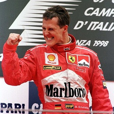 Michael Schumacher finished as runner-up with Ferrari.