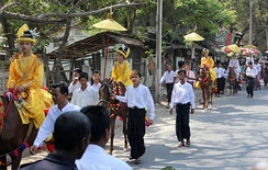 A Buddhist Shinbyu ceremony in Mandalay.