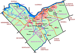 Map of Ottawa showing urban areas and names of historic communities.