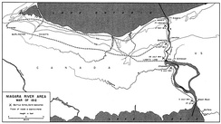 Historical map of the Niagara River area during the War of 1812