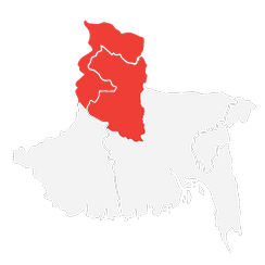 North Bengal is marked red in Bengal Region