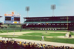 The Chicago White Sox hosting a home game at Comiskey Park in 1990