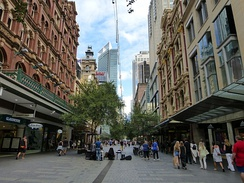 Pitt Street, a major street in Sydney CBD, runs from Circular Quay in the north to Waterloo in the south and is home to many large high-end retailers.[238]