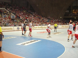 Poland against Argentina during 2008 Summer Olympics qualification tournament in the Centennial Hall, Wrocław