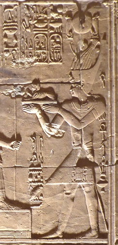 Ptolemy XII, father of Cleopatra VII, making offerings to Egyptian Gods, in the Temple of Hathor, Dendera, Egypt