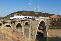 A RENFE Class 730 train on the Viaducto Martin Gil near Zamora