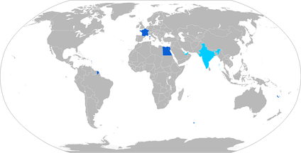 Map with Dassault Rafale operators in blue, with orders in cyan
