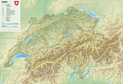 Physical map of Switzerland (in German)
