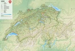 Physical map of Switzerland