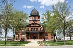 Many county seats in the United States feature a historic courthouse, such as this one in Renville County, Minnesota, pictured in May 2015.