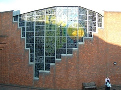 The stained-glass windows on Robinson College Chapel, designed by John Piper.