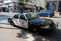 San Diego Police Department car in the city center