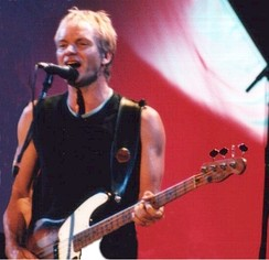 Sting on stage in Budapest during January 2000