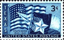 Postage stamp issued on the 100th anniversary of Texas statehood, 1945