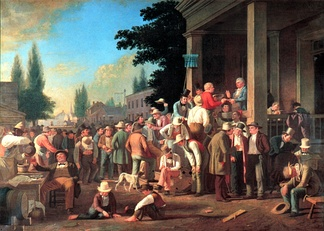 An 1846 painting by George Caleb Bingham showing a polling judge administering an oath to a voter