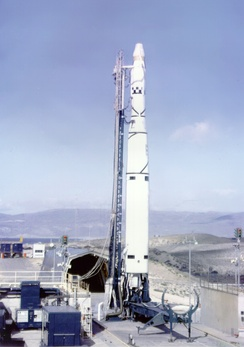 A Thor-Agena launch vehicle, ready to launch the Discoverer 37 (KH-3) spacecraft, on 13 January 1962