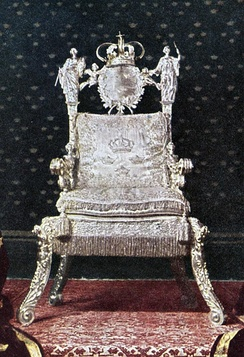 The Silver Throne, used by all Swedish monarchs from Queen Christina in 1650 onward