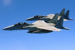 An F-15J and F-15DJ of the Japan Air Self-Defense Force