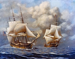 Scene depicting the February 9, 1799 engagement between the USS Constellation (left) and the L'Insurgente (right) during the Quasi-War.