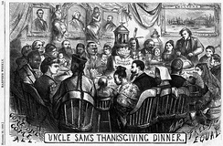An 1869 Thomas Nast cartoon supporting the Fifteenth Amendment. In the cartoon, Americans of different ancestries and ethnic backgrounds sit together at a dinner table with Columbia to enjoy a Thanksgiving meal as equal members of the American citizenry, while Uncle Sam prepares and sets the table.[30][31]