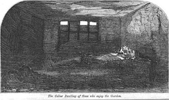 """A Cellar dwelling in Nichol Street"", illustration for ""More Revelations of Bethnal Green"", published in The Builder, vol. XXI, no. 1082 (31 October 1863)"