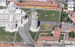 An example of the Leaning Tower of Pisa in the 45° view