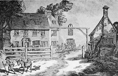 Painting of the first Cock Hotel in Sutton, Surrey by Thomas Rowlandson in 1789.[1]