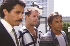 "Edward James Olmos, Bruce Willis (center), and Don Johnson in the episode ""No Exit"""