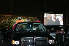 Students enjoy a Drive-In movie in the western parking lot of Javelina Stadium