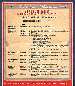 WNBT (later WNBC) schedule for first week of commercial TV programming in the United States, July 1941
