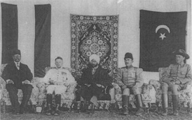 Mahendra Pratap (centre), President of the Provisional Government of India, at the head of the Mission with the German and Turkish delegates in Kabul, 1915. Seated to his right is Werner Otto von Hentig.