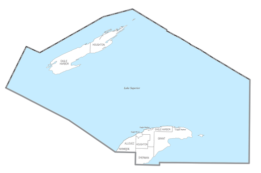 U.S. Census data map showing local municipal boundaries within Keweenaw County
