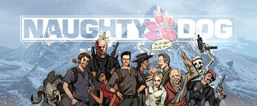 A Naughty Dog promotional illustration of a number of characters from the Uncharted series. From left to right: A guardian of Shambhala, Harry Flynn, Zoran Lazarević, Chloe Frazer, Nathan Drake, Tenzin, Elena Fisher, Victor Sullivan, Karl Schäfer, a skeleton from the multiplayer mode, and two mercenaries.