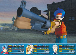 Rudy brandishing an ARM from Wild Arms Alter Code: F.