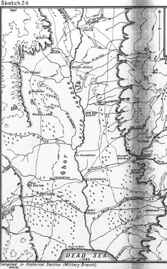 Detail of Falls Sketch Map No. 24 showing Jericho, Wadi Nueiame, Wadi el Auja, Wadi el Mellaha, El Musallabe, Bakr Ridge, El Baghalat, Kh Fasail, Meteil edn Dhib, El Musetter, and the fords from El Ghoraniye, to Umm esh Shert, Mafid Jozele and Jisr ed Damieh with the entrenched Shunet Nimrin position to the east overlooked by El Haud to the north east