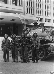 Victorious NVA troops at the Presidential Palace, Saigon