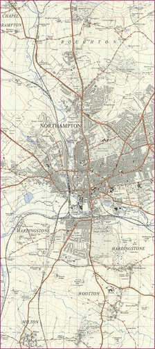 Extracts from OS Maps SP75 and SP76 (1956 & 1955 respectively). Grid squares are 1km
