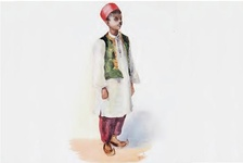 image of a standing boy in a religious costume