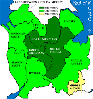 Map 16: Subdivisions of Mercia, almost all of them matched Middle Anglian individual tribes or groups of tribes, except for the Middle Saxons, see Tribal Hidage.